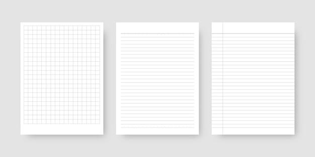 Jeu de papier pour ordinateur portable. feuille de papier ligné