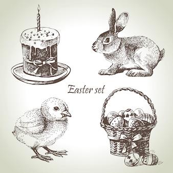 Jeu de pâques. illustrations dessinées à la main