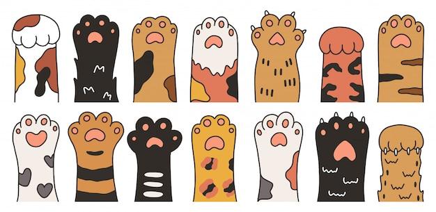 Jeu de pattes de chat dessiné main dessin animé mignon