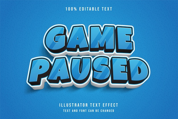Jeu en pause, effet de texte modifiable en 3d.
