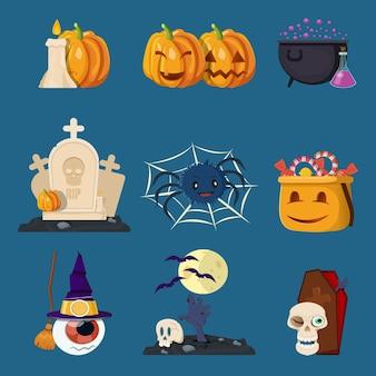 Jeu de personnages de dessin animé halloween