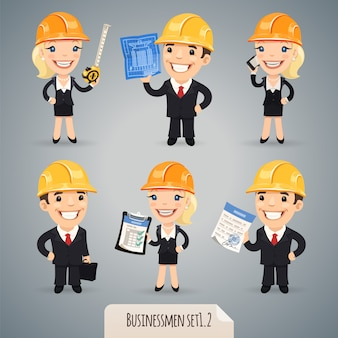 Jeu de personnages de dessin animé d'hommes d'affaires