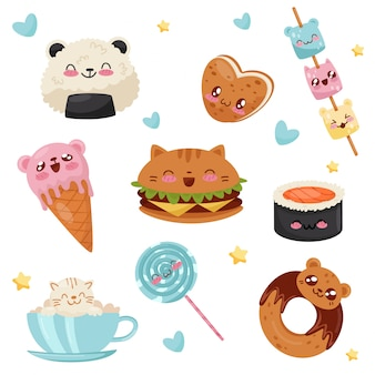 Jeu de personnages de dessin animé mignon kawaii alimentaire, desserts, bonbons, restauration rapide illustration sur fond blanc