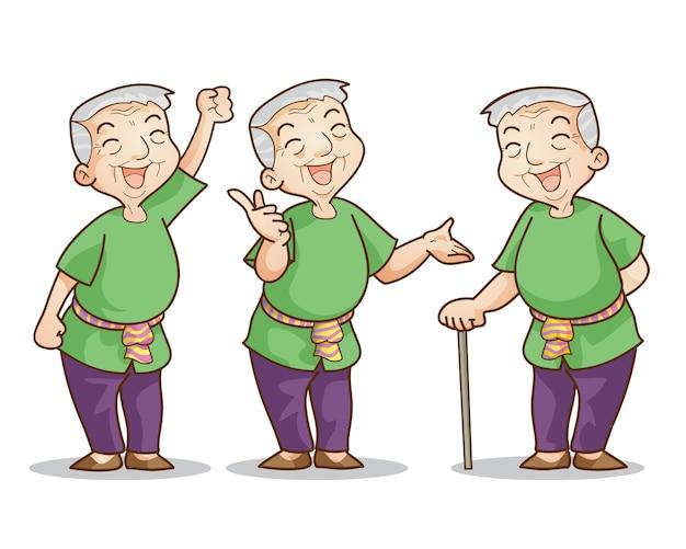 Jeu de personnages de dessin animé de vieil homme