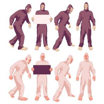Jeu de personnages de dessins animés vectoriels bigfoot et yeti isolés sur fond blanc.