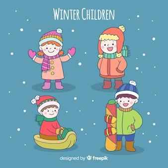 Jeu de personnages d'hiver pour enfants