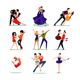 Jeu de personnes dansantes