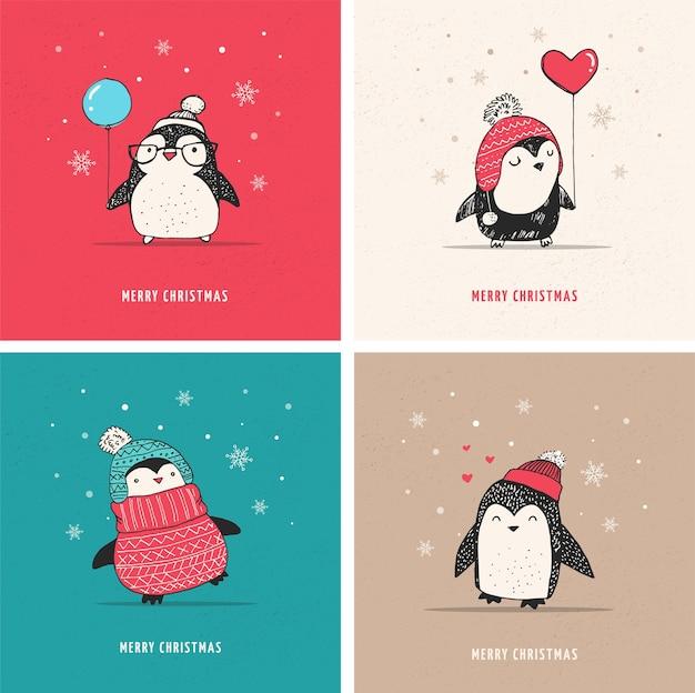 Jeu de pingouins dessinés à la main mignon - salutations de joyeux noël