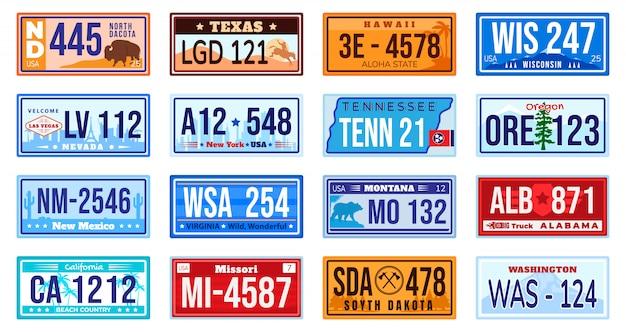 Jeu de plaque d'immatriculation de voiture américaine.