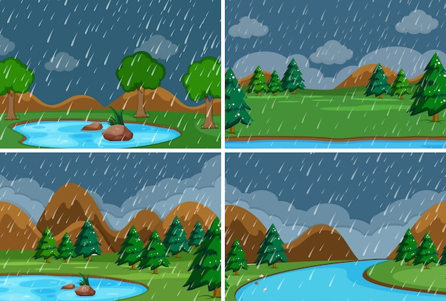 Jeu de pluie dans le parc