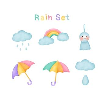 Jeu de pluie style aquarelle