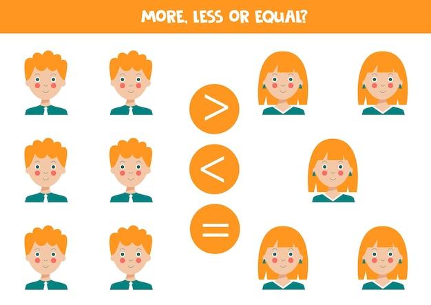 Jeu plus inférieur ou égal avec de jolis garçons et filles aux cheveux roux jeu de mathématiques pour enfants
