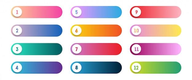Jeu de points de vecteur numéro 1 à 12 boutons web colorés