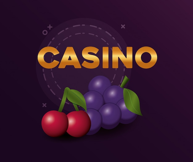 Jeu de poker casino cerises et raisins