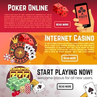 Jeu de poker en ligne poker loterie internet casino vecteur bannières définies. commencez à jouer maintenant, roulette et dés