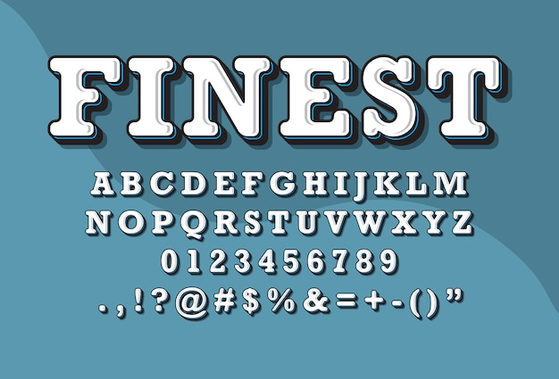 Jeu de polices alphabet 3d style rétro vintage