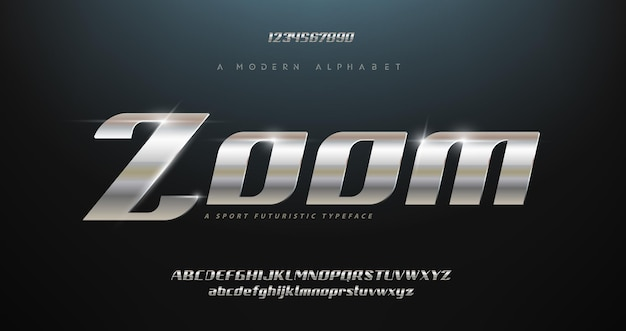 Jeu de polices d'alphabet italique typographie moderne sport