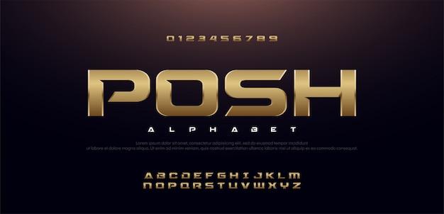 Jeu de polices alphabet moderne en métal doré sport élégant.