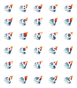 Jeu de polices de lettres et chiffres colorés. modèle de logo polygonale triangle alphabet coloré