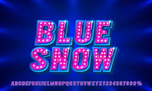 Jeu de polices de spectacle bleu lettres et chiffres de collection symbole vecteur