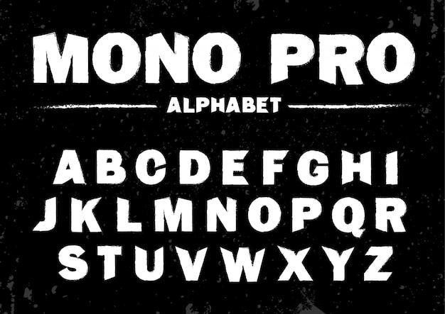 Jeu de polices vectorielles stock brosse, modèle de police. typographie classique alphabet