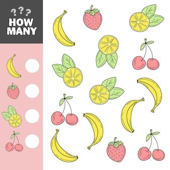 Jeu pour les enfants d'âge préscolaire compte autant de fruits dans l'image