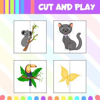 Jeu pour enfants découpé et jouant avec des images d'animaux mignons. style de bande dessinée. illustration vectorielle.