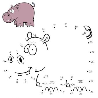 Jeu pour enfants point à point hippopotame