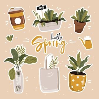Jeu de printemps avec des plantes.