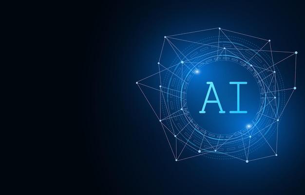 Jeu de puces ai d'intelligence artificielle sur le concept de technologie futuriste de carte de circuit imprimé