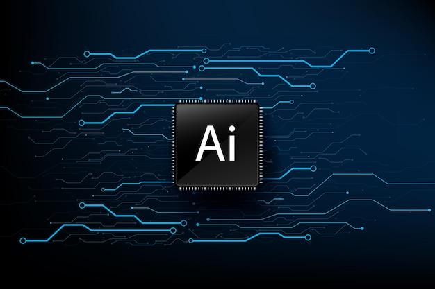 Jeu de puces cpu de technologie d'intelligence artificielle ai avec ligne de connexion par points de carte de circuit imprimé