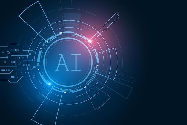 Jeu de puces d'intelligence artificielle ai sur circuit imprimé futuriste