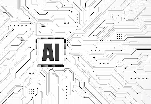 Jeu de puces d'intelligence artificielle sur circuit imprimé