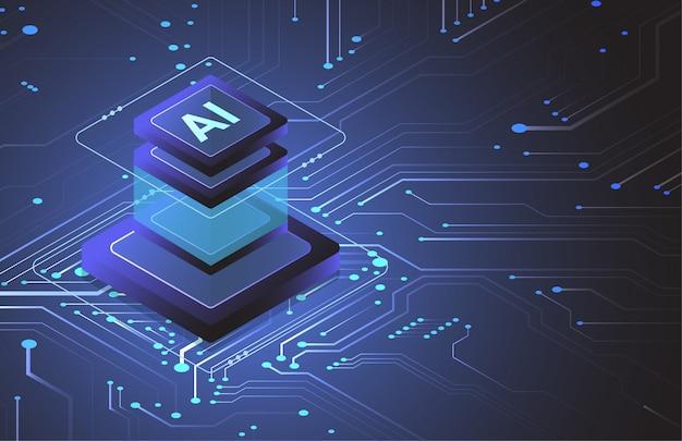 Jeu de puces isométrique d'intelligence artificielle sur carte de circuit imprimé dans un concept futuriste