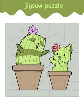 Jeu de puzzle de cactus panda et cactus chat
