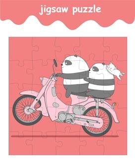 Jeu de puzzle de cavaliers panda et chat