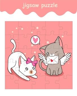 Jeu de puzzle de chat d'amour de couple avec la bande dessinée de lettre d'amour