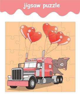 Jeu de puzzle de chat sur le camion avec des ballons coeur