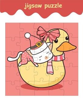 Le jeu de puzzle de chat chevauche le dessin animé de canard