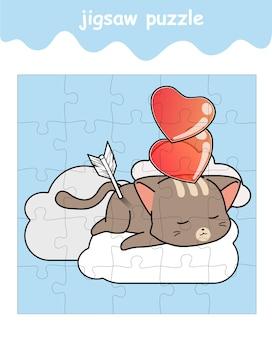 Jeu de puzzle de chat dans le nuage avec la bande dessinée de coeurs