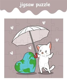 Le jeu de puzzle de chat sauve le monde