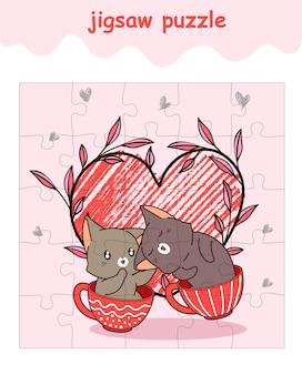 Jeu de puzzle de dessin animé de chat amoureux de couple