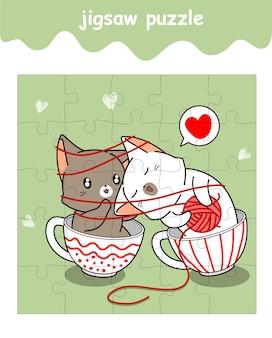 Jeu de puzzle de dessin animé de chat de chat de couple adorable