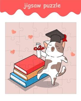 Jeu de puzzle de dessin animé de chat d'éducation