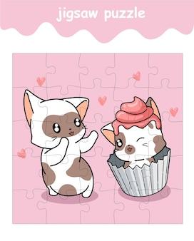 Jeu de puzzle de dessin animé de gâteau de chat et de chat
