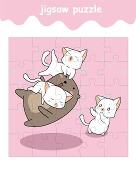 Jeu de puzzle de dessin animé ours et 3 chats