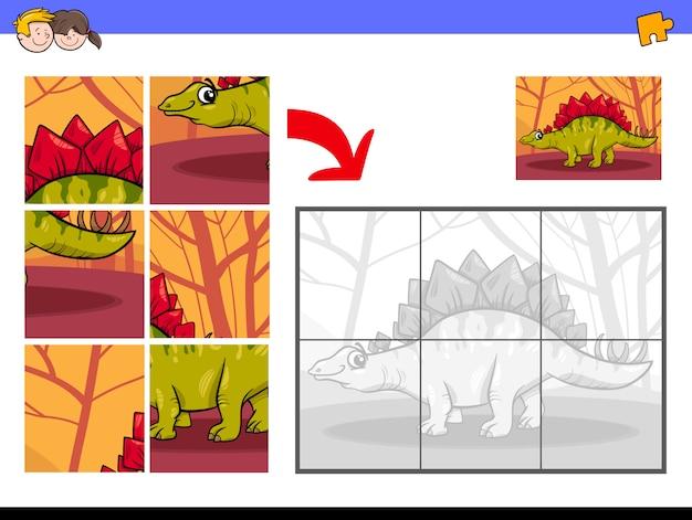Jeu de puzzle éducatif avec personnage de dinosaure