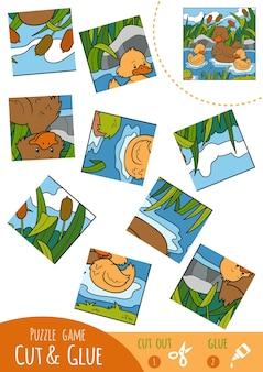 Jeu de puzzle éducatif pour les enfants, famille duck. utilisez des ciseaux et de la colle pour créer l'image.