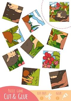 Jeu de puzzle éducatif pour les enfants, hérisson. utilisez des ciseaux et de la colle pour créer l'image.