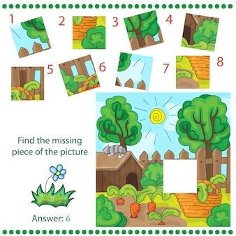 Jeu de puzzle avec illustration de jardin de ferme